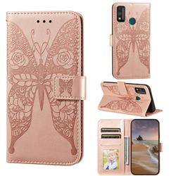 Intricate Embossing Rose Flower Butterfly Leather Wallet Case for Huawei Honor 9X Lite - Rose Gold