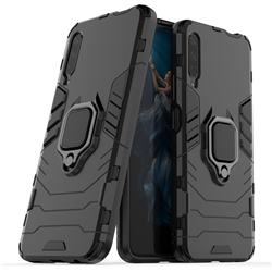 Black Panther Armor Metal Ring Grip Shockproof Dual Layer Rugged Hard Cover for Huawei Honor 9X Pro - Black