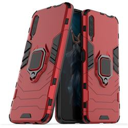 Black Panther Armor Metal Ring Grip Shockproof Dual Layer Rugged Hard Cover for Huawei Honor 9X Pro - Red
