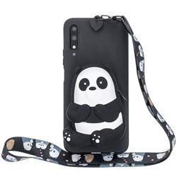 Cute Panda Neck Lanyard Zipper Wallet Silicone Case for Huawei Honor 9X Pro