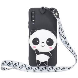White Panda Neck Lanyard Zipper Wallet Silicone Case for Huawei Honor 9X Pro
