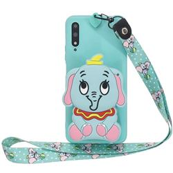 Blue Elephant Neck Lanyard Zipper Wallet Silicone Case for Huawei Honor 9X Pro