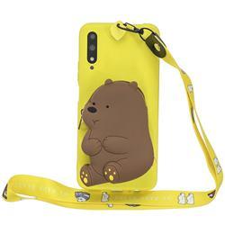 Yellow Bear Neck Lanyard Zipper Wallet Silicone Case for Huawei Honor 9X Pro