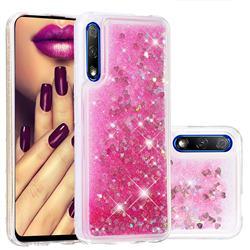 Dynamic Liquid Glitter Quicksand Sequins TPU Phone Case for Huawei Honor 9X Pro - Rose