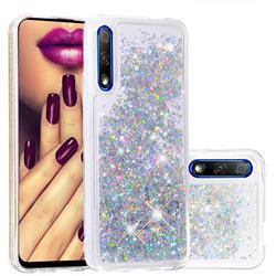 Dynamic Liquid Glitter Quicksand Sequins TPU Phone Case for Huawei Honor 9X Pro - Silver