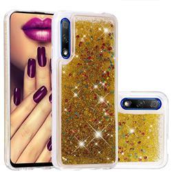 Dynamic Liquid Glitter Quicksand Sequins TPU Phone Case for Huawei Honor 9X Pro - Golden