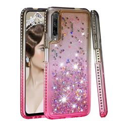 Diamond Frame Liquid Glitter Quicksand Sequins Phone Case for Huawei Honor 9X Pro - Gray Pink