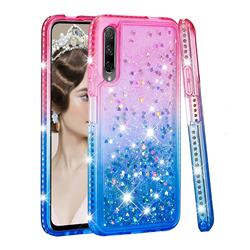 Diamond Frame Liquid Glitter Quicksand Sequins Phone Case for Huawei Honor 9X Pro - Pink Blue