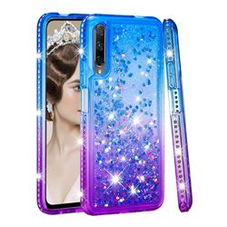 Diamond Frame Liquid Glitter Quicksand Sequins Phone Case for Huawei Honor 9X Pro - Blue Purple