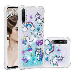 Fashion Unicorn Dynamic Liquid Glitter Sand Quicksand Star TPU Case for Huawei Honor 9X Pro