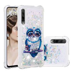 Sweet Gray Owl Dynamic Liquid Glitter Sand Quicksand Star TPU Case for Huawei Honor 9X Pro