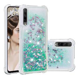Dynamic Liquid Glitter Sand Quicksand TPU Case for Huawei Honor 9X Pro - Green Love Heart