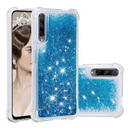 Dynamic Liquid Glitter Sand Quicksand TPU Case for Huawei Honor 9X Pro - Blue Love Heart