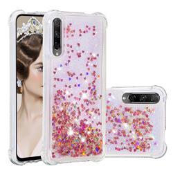 Dynamic Liquid Glitter Sand Quicksand TPU Case for Huawei Honor 9X Pro - Rose Gold Love Heart