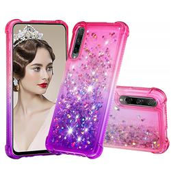 Rainbow Gradient Liquid Glitter Quicksand Sequins Phone Case for Huawei Honor 9X Pro - Pink Purple