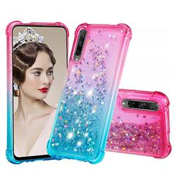 Rainbow Gradient Liquid Glitter Quicksand Sequins Phone Case for Huawei Honor 9X Pro - Pink Blue