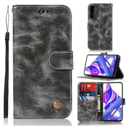 Luxury Retro Leather Wallet Case for Huawei Honor 9X Pro - Gray