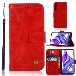 Luxury Retro Leather Wallet Case for Huawei Honor 9X Pro - Red