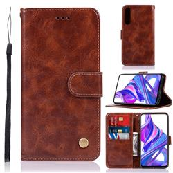 Luxury Retro Leather Wallet Case for Huawei Honor 9X Pro - Brown