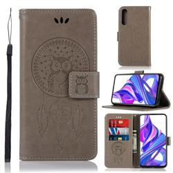 Intricate Embossing Owl Campanula Leather Wallet Case for Huawei Honor 9X Pro - Grey