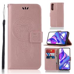 Intricate Embossing Owl Campanula Leather Wallet Case for Huawei Honor 9X Pro - Rose Gold