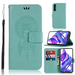 Intricate Embossing Owl Campanula Leather Wallet Case for Huawei Honor 9X Pro - Green