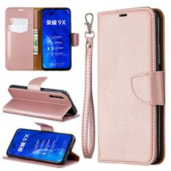 Classic Luxury Litchi Leather Phone Wallet Case for Huawei Honor 9X Pro - Golden