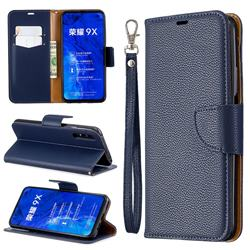 Classic Luxury Litchi Leather Phone Wallet Case for Huawei Honor 9X Pro - Blue