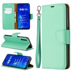 Classic Luxury Litchi Leather Phone Wallet Case for Huawei Honor 9X Pro - Green