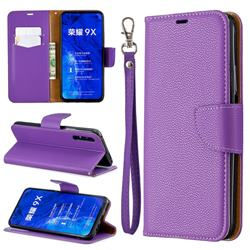 Classic Luxury Litchi Leather Phone Wallet Case for Huawei Honor 9X Pro - Purple
