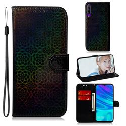 Laser Circle Shining Leather Wallet Phone Case for Huawei Honor 9X Pro - Black