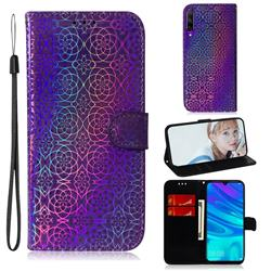 Laser Circle Shining Leather Wallet Phone Case for Huawei Honor 9X Pro - Purple