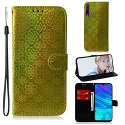 Laser Circle Shining Leather Wallet Phone Case for Huawei Honor 9X Pro - Golden