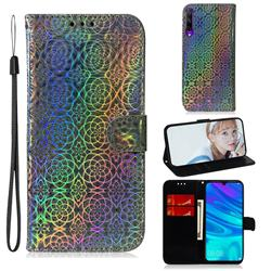 Laser Circle Shining Leather Wallet Phone Case for Huawei Honor 9X Pro - Silver