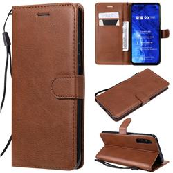 Retro Greek Classic Smooth PU Leather Wallet Phone Case for Huawei Honor 9X Pro - Brown