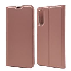 Ultra Slim Card Magnetic Automatic Suction Leather Wallet Case for Huawei Honor 9X Pro - Rose Gold