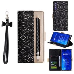 Luxury Lace Zipper Stitching Leather Phone Wallet Case for Huawei Honor 9X Pro - Black