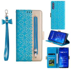 Luxury Lace Zipper Stitching Leather Phone Wallet Case for Huawei Honor 9X Pro - Blue