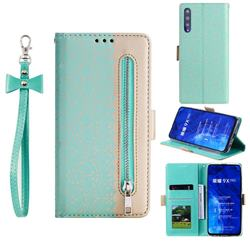 Luxury Lace Zipper Stitching Leather Phone Wallet Case for Huawei Honor 9X Pro - Green