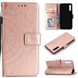 Intricate Embossing Datura Leather Wallet Case for Huawei Honor 9X Pro - Rose Gold