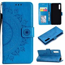 Intricate Embossing Datura Leather Wallet Case for Huawei Honor 9X Pro - Blue