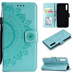 Intricate Embossing Datura Leather Wallet Case for Huawei Honor 9X Pro - Mint Green