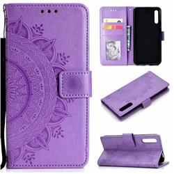 Intricate Embossing Datura Leather Wallet Case for Huawei Honor 9X Pro - Purple