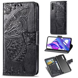 Embossing Mandala Flower Butterfly Leather Wallet Case for Huawei Honor 9X Pro - Black