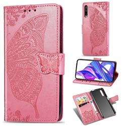 Embossing Mandala Flower Butterfly Leather Wallet Case for Huawei Honor 9X Pro - Pink