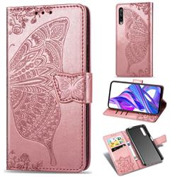 Embossing Mandala Flower Butterfly Leather Wallet Case for Huawei Honor 9X Pro - Rose Gold
