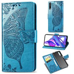 Embossing Mandala Flower Butterfly Leather Wallet Case for Huawei Honor 9X Pro - Blue