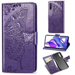 Embossing Mandala Flower Butterfly Leather Wallet Case for Huawei Honor 9X Pro - Dark Purple