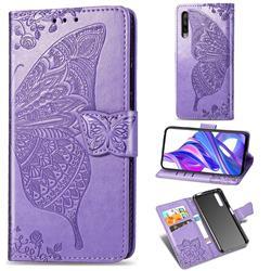 Embossing Mandala Flower Butterfly Leather Wallet Case for Huawei Honor 9X Pro - Light Purple