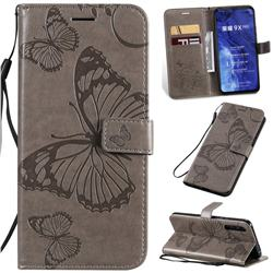 Embossing 3D Butterfly Leather Wallet Case for Huawei Honor 9X Pro - Gray